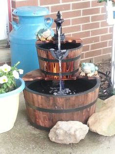 My whiskey barrel fountain.