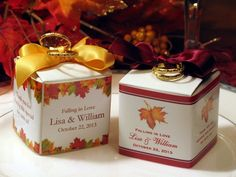 AUTUMN FALL wedding square favor boxes - 2 inches - bridal baby shower
