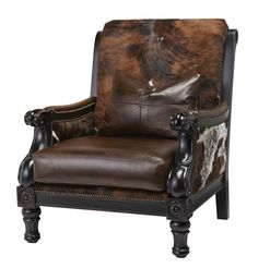 Massoud Trend Western Club Chair Western Accent Chairs - Natural tri color hair on hide with chocolate brown leather seat and accent pillow. Bold wood frame.