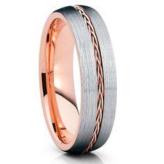 6mm,Rose Gold Tungsten,Rose Gold Braid,Tungsten Wedding Band,Grey Tungsten