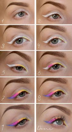 Getting bored with plain #black #winged #liner? Go #rainbow with this #eyeliner #tutorial! #makeup #beautytips
