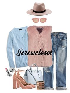 """""""New Dusty Rose Vest #1"""" by jcrewcloset ❤ liked on Polyvore featuring J.Crew, American Eagle Outfitters, Boohoo, Tory Burch, Aquazzura, Eugenia Kim, Karen Walker, Stila and Burberry"""