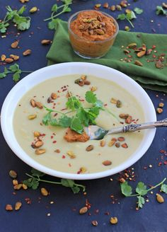 Creamy Cauliflower Soup with Pistachio Harissa Pesto - Vegan