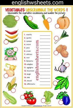 Vegetables Esl Printable Unscramble the Words Worksheets For Kids #vegetables #Esl #Printable #Unscramble #words #Worksheets #language #arts #languagearts
