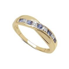 The Diamond Ring Collection: 9ct Gold Tanzanite & Diamond Channel Set Crossover Eternity Ring, Mother's Day, Anniversary Gift, Ring Size H,I,J,K,L,M,N,O,P,Q,R,S,T,U,V,W: Amazon.co.uk: Jewellery