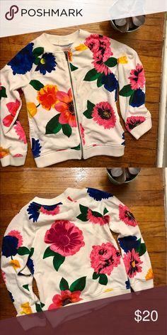Crazy 8 girls zip up sweatshirt! Super cute little girls zip up sweatshirt! The flowers are so bold! Amazing for spring and summer!!! Size 7-8. crazy 8 Shirts & Tops Sweatshirts & Hoodies