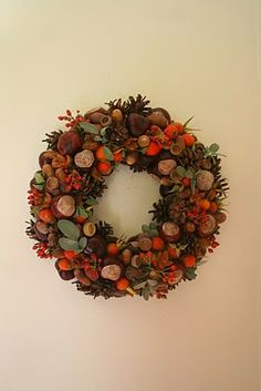 wreath with treasures of the autumn forest
