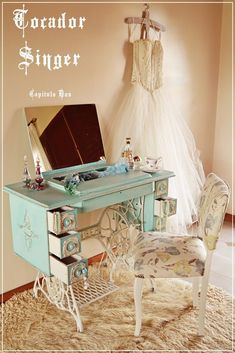 Old Singer Sewing Machine Redone As A Super-Shabby Chic Dressing Table.