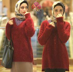 wool maroon sweater hijab look, Aalaa designs winter collection http://www.justtrendygirls.com/aalaa-designs-winter-collection/