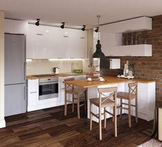 Fotka Condo Kitchen, Living Room Kitchen, Kitchen Decor, Dining Room Design, Interior Design Kitchen, Industrial Home Design, Sweet Home, Little Kitchen, Open Plan Kitchen