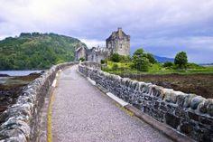 Bridge to Eilean Donan castle in Scotland photo