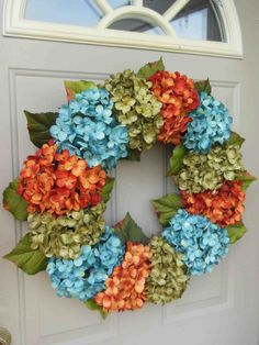 Spring Hydrangeas Front Door Wreaths Traditional Wreaths By Bndd, $95.00