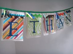 Personalized Banner Choose your colors & theme Hand by BooBahBlue, $7.00