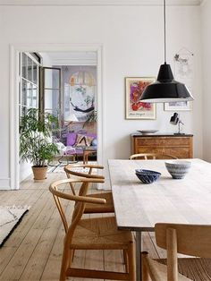 Scandinavian Dining Room Design: Ideas & Inspiration - Di Home Design Esstisch Design, Dining Room Inspiration, Dining Room Lighting, Dining Room Design, Dining Furniture, Furniture Ideas, Furniture Design, Furniture Makeover, Antique Furniture