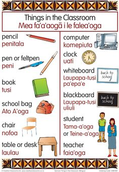 Common classroom items drawn listed in both Samoan and English. The chart is nicely framed with a tapa cloth design Classroom Charts, Classroom Themes, Back To School Bags, Faia, American Tattoos, Samoan Tattoo, Thinking Day, Luau Party, My Heritage