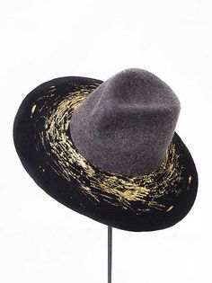 Fedora Gold by Elena Shvab Millinery Cowboy Hats, Gold, Accessories, Fashion, Moda, Fashion Styles, Fashion Illustrations, Yellow, Jewelry Accessories