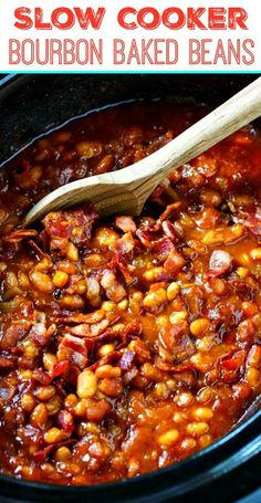 These Slow Cooker Bourbon Baked Beans have all of the requisite baked bean flavors: brown sugar molasses mustard Worcestershire sauce onion and bacon. Crockpot Baked Beans, Baked Bean Recipes, Baked Beans With Bacon, Crockpot Meals, Bourbon Baked Beans Recipe, Easy Baked Beans, Beans Recipes, Chicken Recipes, Diabetic Baked Beans Recipe