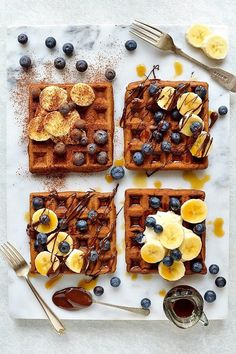 Healthier chocolate banana waffles - chocolate banana flavored waffles made with spelt & buckwheat flour with yogurt for extra protein, delicious & healthy!