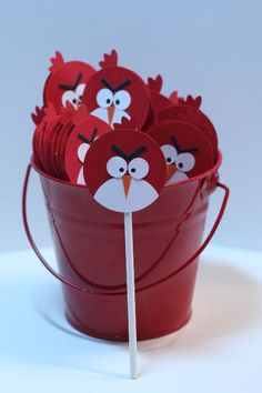 angry bird cupcake sticks... homemade... fun!