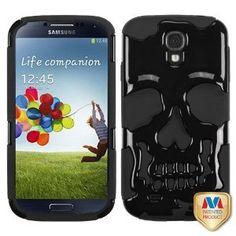 Amazon.com: MYBAT Solid Black/Black Skullcap Hybrid Protector Cover for SAMSUNG I337 (Galaxy S 4): Cell Phones & Accessories