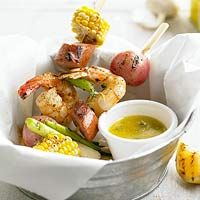 Shrimp Boil on a Stick: This kabob idea features your favorite shrimp boil flavors -- jumbo shrimp, sweet corn, new potatoes, and sausage -- in less than an hour.