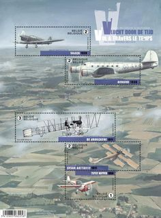 Stamp: Sheet Old Belgian Airplanes (Belgium) (Old Belgian Airplanes) Mi:BE BL200,Bel:BE BL235