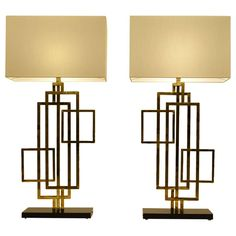 Geometric Pair of Romeo Rega Table Lamps   From a unique collection of antique and modern table lamps at https://www.1stdibs.com/furniture/lighting/table-lamps/