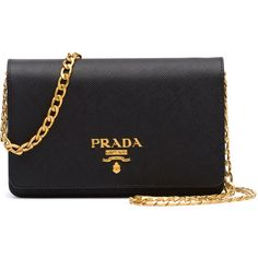 Prada Saffiano Lux Crossbody Bag ($1,270) ❤ liked on Polyvore featuring bags, handbags, shoulder bags, black, prada crossbody, chain handle handbags, prada, crossbody flap purse and crossbody purse