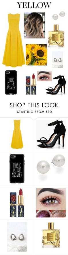 """""""La La Land Dress"""" by squishycake ❤ liked on Polyvore featuring Warehouse, Boohoo, Casetify, AK Anne Klein, LULUS and Miller Harris"""