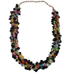Vintage Plastic Necklace with Paillettes | From a unique collection of vintage link necklaces at http://www.1stdibs.com/jewelry/necklaces/link-necklaces/