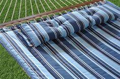 Bliss Hammocks BQH-482 European Quilted Hammock with Button Tuft Pillow, Color: Dark Blue, Lt Blue, White Stripe Pattern