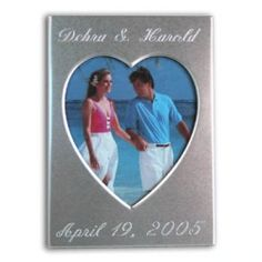 "Engraved Silver Brushed 2"" x 3"" Heart Place Card Frame http://www.createafavor.com/p-C2X3HE.html"