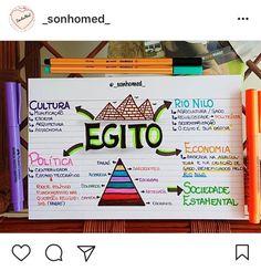 Egito - História School Notes, I School, Mental Map, Stationary School, Study Organization, School Study Tips, School Subjects, Study Hard, Study Inspiration