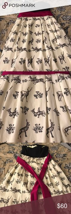 Anthropologie deer dress  🦌 Strapless dress with beautiful magenta ribbon bow. Cute deer pattern on skirt. Pockets. Worn once Anthropologie Dresses Strapless