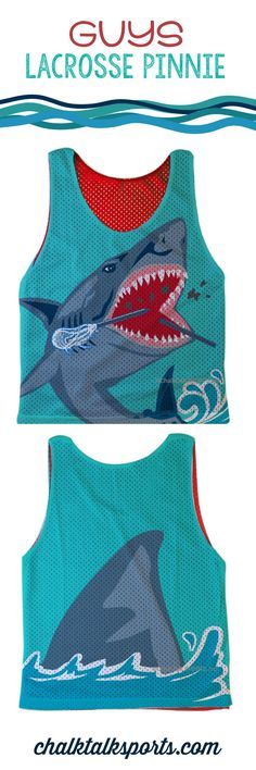 Prep for Summer sun with this shark attack guys lacrosse pinnie! Makes a great gift for any laxer! Only from ChalkTalkSPORTS.com!