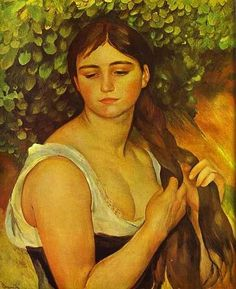 """""""Girl Braiding Her Hair (Suzanne Valadon)"""" in 1885 by Pierre Auguste Renoir (Limoges 1841 - Cagnes-sur-mer 1919). Oil on canvas. Private collection. While living and working in Montmartre, Renoir employed as a model Suzanne Valadon (1865 -1938), the first woman painter admitted to the Société Nationale des Beaux-Arts. By the mid 1880s, Renoir had broken with the impressionism to apply a more disciplined, formal technique to portraits and figure paintings, particularly of women."""