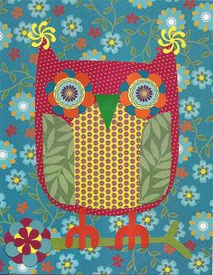 'owl-collage-teal-red-yellow' by Melissa Stewart of Crab Apple Design