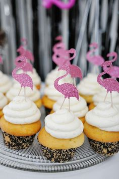 Flamingos, black and gold, polkadots and stripes, first birthday Birthday Party Ideas | Photo 25 of 140 | Catch My Party