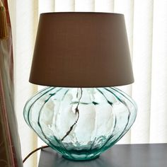 This lamp base has several unique features: made from recycled glass, it is fitted with a multi coloured cotton braided flex and a cork stopper at the top for the bulb holder Glass Lamp Base, Table Lamp Base, Lamp Bases, Table Lamps, Interior Styling, Interior Decorating, Hurricane Lamps, Hotel Decor, Hotel Interiors