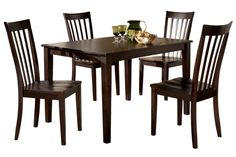 """Dark wood dining table, no padding that could get ripped on chair, """"Hyland"""" collection at Ashley Furniture"""