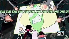 I like how in this part all the gems jump away while Steven just flops over like a starfish.