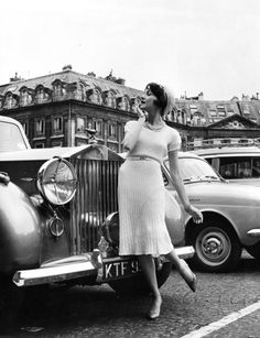 Photo by Kenneth Heilbron shot in Paris 1960 for Marshall Fields of Chicago - model Ivy Nicholson