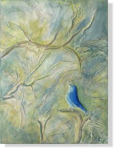 The background in light green, blue, gray pastel colors highlights the beautiful blue of the birdie. Modern Art, Contemporary Art, Leather Photo Albums, Green Wall Art, Creation Art, Colored Highlights, Art Prints For Sale, Small Shops, Ldr
