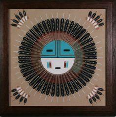 Sun Face Navajo sand painting by Alberta Tsosie