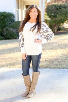 Leopard Sleeve Sweatshirt   Hazel & Olive