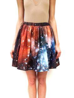 Crimson Galaxy Starcluster Skirt by shadowplaynyc on Etsy