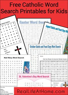 Word searches are fun for kids and a great learning tool for important terms. Here is a list of free Catholic Word Search Printables for kids!