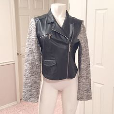 Potters pot two tone black Moto jacket Black faux leather with grey sparkly sleeves. Brand new Potter's Pot Jackets & Coats
