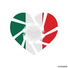 """""""Heart and Hands Helping Mexico. Vector illustration"""" Stock image and royalty-free vector files on Fotolia.com - Pic 174032856"""