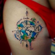 40 world map tattoos that will ignite your inner travel bug 40 world map tattoos that will ignite your inner travel bug pinterest map tattoos watercolor and tattoo gumiabroncs Images